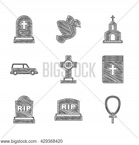 Set Grave With Cross, Tombstone Rip Written, Christian Chain, Holy Bible Book, Hearse Car, Church Bu