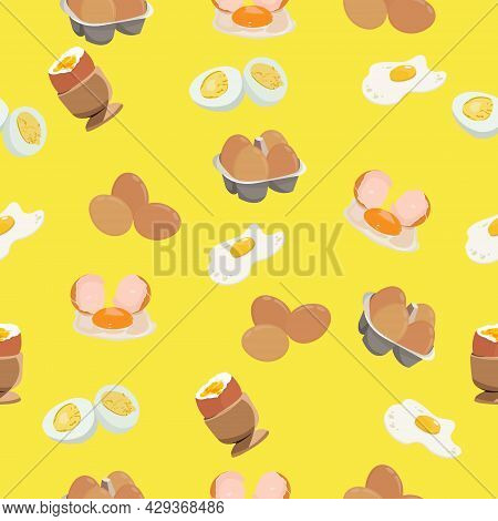 Vector Illustration Of Egg Seamless Pattern. Raw Egg And Cooked Egg. Hard And Soft Boiled. Sunny Sid