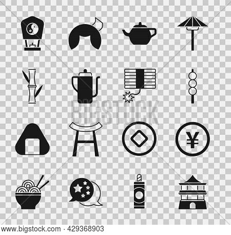 Set Chinese House, Yuan Currency, Meatballs On Wooden Stick, Tea Ceremony, Bamboo, Paper Lantern And