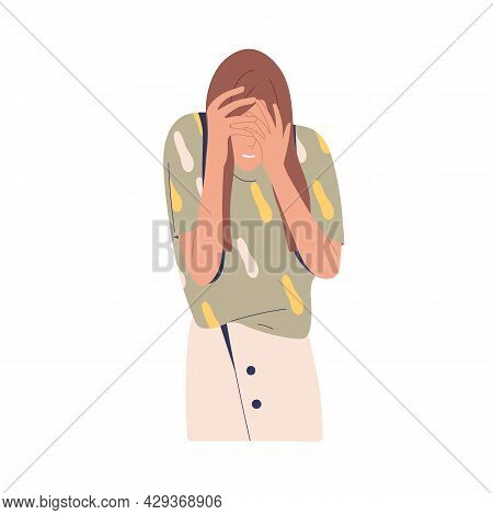 Embarrassed Woman Hiding Her Face, Regretting Failure. Upset Shy Person Feeling Shame After Fail. Fe