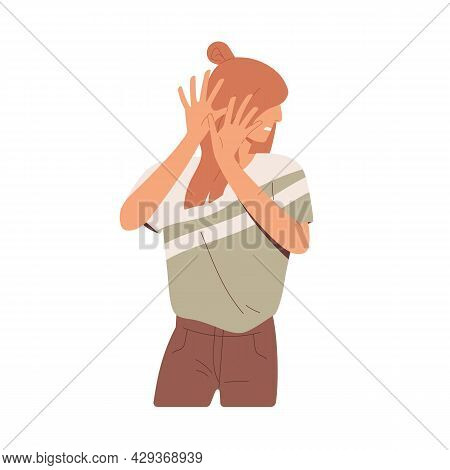 Embarrassed Woman Hiding Her Face Behind Hands, Feeling Disgust, Fear And Shame. Frightened Sensitiv
