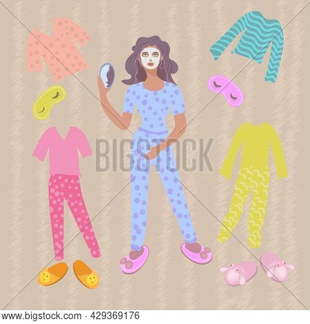 A Woman In Pajamas With A Cosmetic Mask On Her Face And A Mirror. A Set Of Pajamas And Slippers.