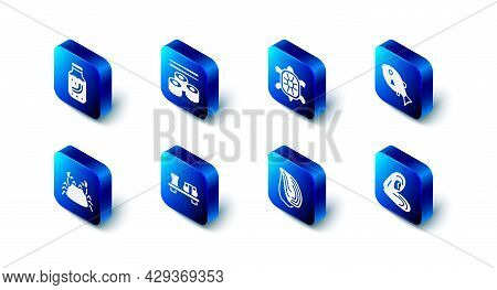 Set Sushi, Turtle, Tropical Fish, Mussel, On Cutting Board, Crab And Sea Cucumber Jar Icon. Vector