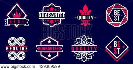 Premium Best Quality Vector Emblems Set Over Dark, Badges And Logos Collection For Different Product