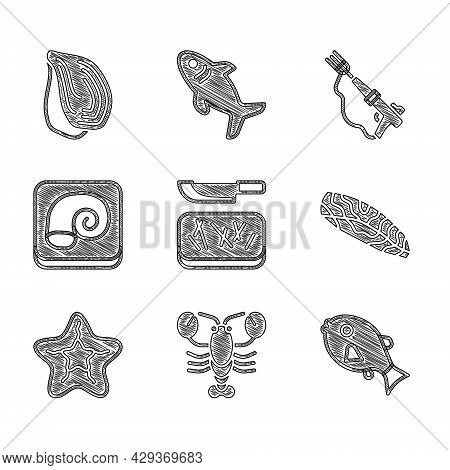 Set Cutting Board And Knife, Lobster, Tropical Fish, Fish Steak, Starfish, Octopus On Plate, Fishing