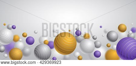 Realistic Lined Spheres Vector Illustration With Blank Copy Space, Abstract Background With Beautifu