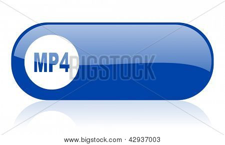 mp4 blue web glossy icon