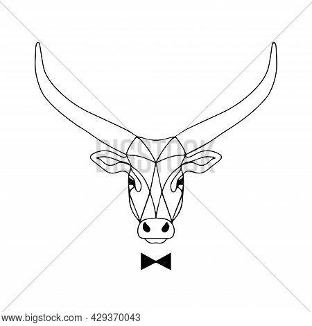 Vector Illustration Of A Bull. Gentleman Bull Character. Catering Logo. Illustration For The Men's C