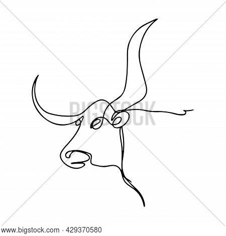 Vector Illustration Of Bull Head In One Line. Animal Icon. Bull Print. Domestic Cattle. Buffalo Logo