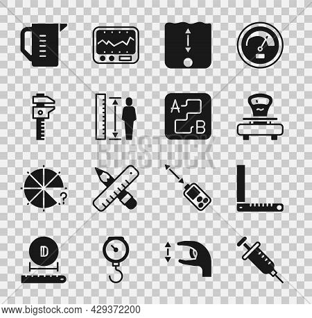Set Syringe, Corner Ruler, Scales, Depth Measurement, Measuring Height Body, Calliper Caliper And Sc