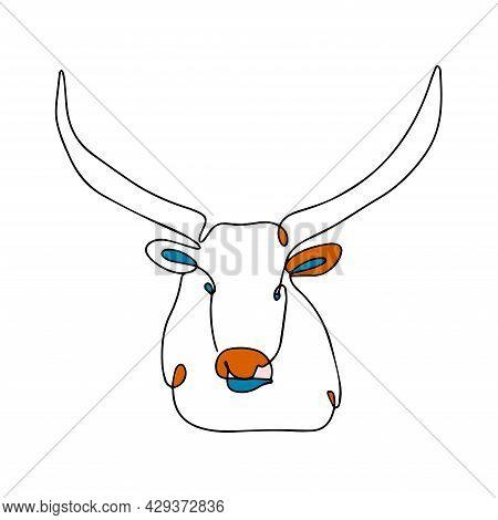 Illustration Of A Bull With Long Horns. Vector Bull In One Line Style. Bull Logo. Modern Print For C