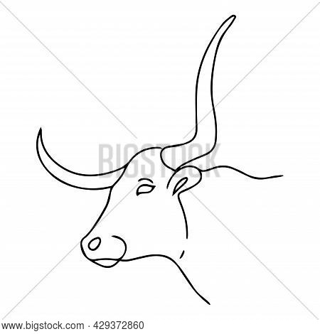 Linear Illustration Of A Bull. Vector Bull Head With Large Strong Horns. Cattle.