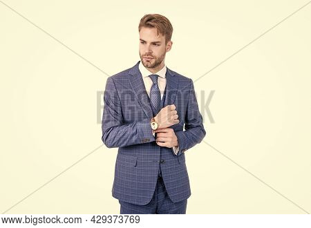 Young Realtor Fix Sleeve Button Wearing Fashion Navy Suit In Business Formal Style, Outfitting.