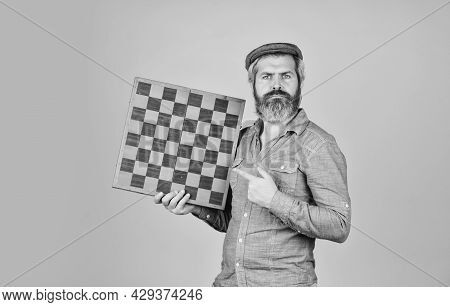 Strategy Ideas Concept. Bearded Man Hold Chess Board. Intelligence Quotient. Human Brain Working. Br