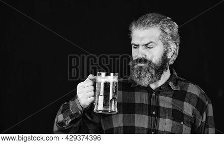 Tasting Beverage For Pub. Trying A New Beer. Brutal Hipster Drink Beer. Mature Man Hold Beer Glass.