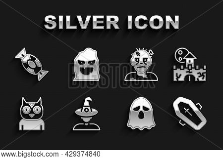 Set Witch, Castle, Fortress, Coffin With Cross, Ghost, Owl Bird, Zombie Mask, Candy And Funny Scary