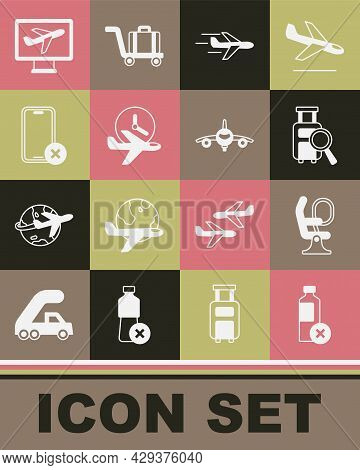 Set No Water Bottle, Airplane Seat, Lost Baggage, Plane, Flight Time, Cell Phone, And Icon. Vector