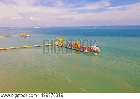 Port Dickson, Malaysia- January 23, 2021: Coal Transport Ship At The Dock Of The   Jimah Power Plant