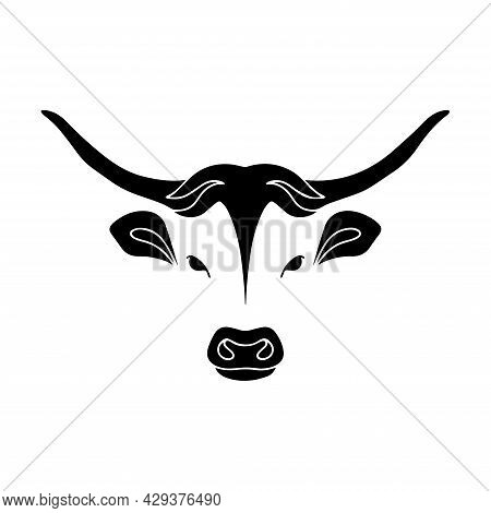 Vector Image Of A Dangerous Bull. Buffalo Head. The Head Of A Horned Animal. Bull Head Graphic Drawi