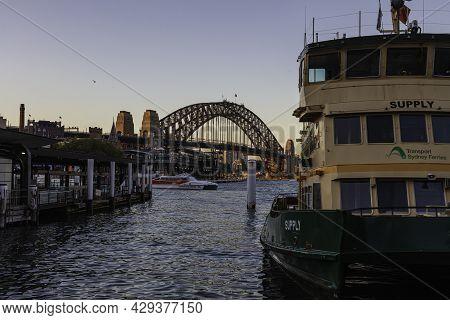 Sydney, Australia - October 14, 2020: The Green Yellow Ferries At Circular Quay, Sydney Australia. I
