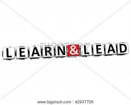 3D Learn And Lead Button Click Here Block Text