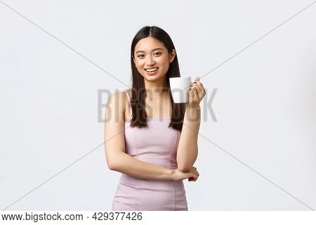 Lifestyle, People Emotions And Glamour Concept. Stylish Good-looking Young Asian Woman In Trendy Dre