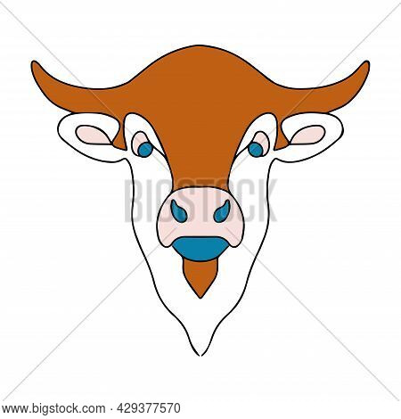 Vector Stylized Cow Head. Simple Linear Illustration Of A Cow. Sketch Of A Hoofed Animal Tattoo. Col