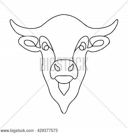 Simple Linear Image Of A Bull. Vector Bull Logo. Coloring Book Of A Horned Animal. Zodiac Sign. Catt