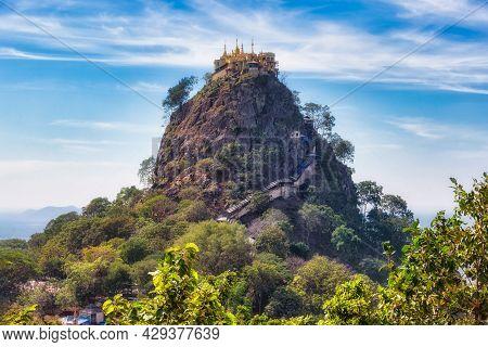 View Of Mount Popa In Myanmar. Mount Popa Is An Extinct Volcano Of 1518 Metres (4981 Feet) Above Sea