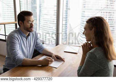 Employer, Recruiter, Hr Manager Interviewing Job Candidate