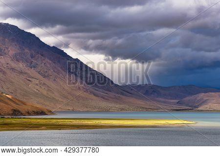 A Storm Approaching Tso Moriri Lake In Ladakh, India. Tso Moriri Is A Lake In The Ladakhi Part Of Th
