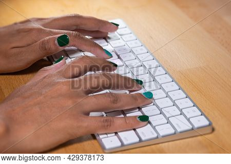 Woman Hands Typing On A Computer Keyboard. Female Hands Writing On A Aluminum Computer Keyboard. Fin