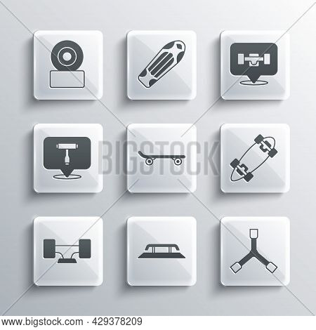 Set Skateboard Stairs With Rail, Y-tool, Longboard Or Skateboard, Wheel, T, And Icon. Vector