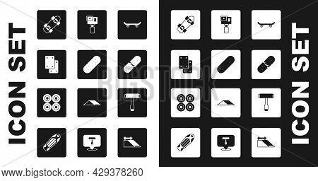 Set Skateboard, Knee Pads, Broken Skateboard Deck, Action Camera, T Tool And Wheel Icon. Vector