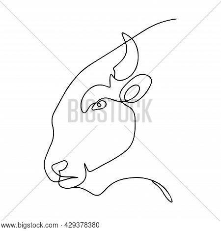 Vector Illustration Of A Bull. Bull Logo In Continuous Line Style. Silhouette Of Cattle. Buffalo Col