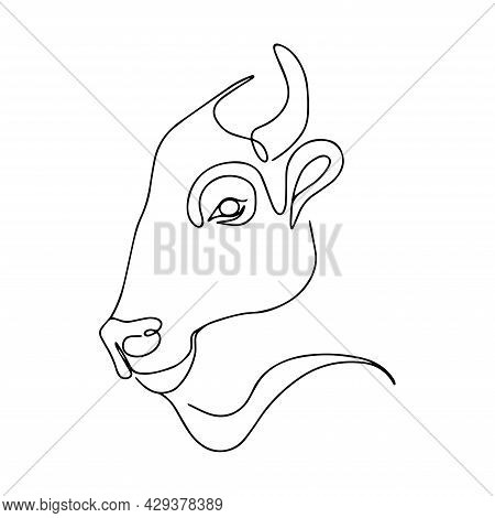 Silhouette Of A Bull. Continuous Line Drawing Of A Bull. Domestic Cattle, Coloring Book. Cattle Head