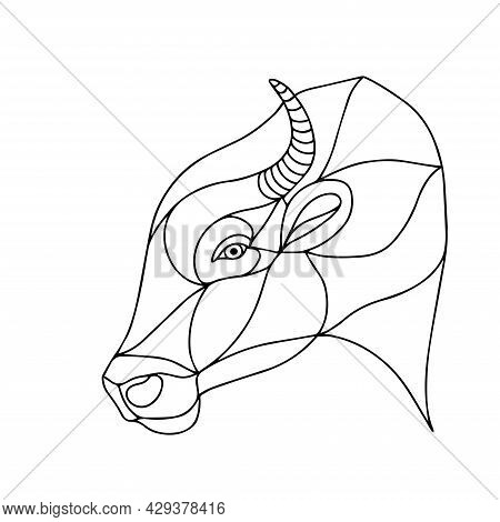 Vector Image Of A Dangerous Bull. Drawing For Coloring. Buffalo Head. The Head Of A Horned Animal. G