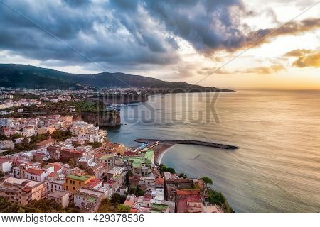 Sunset Over The Sorrento Coastline. Sorrento Is A Town Overlooking The Bay Of Naples In Southern Ita