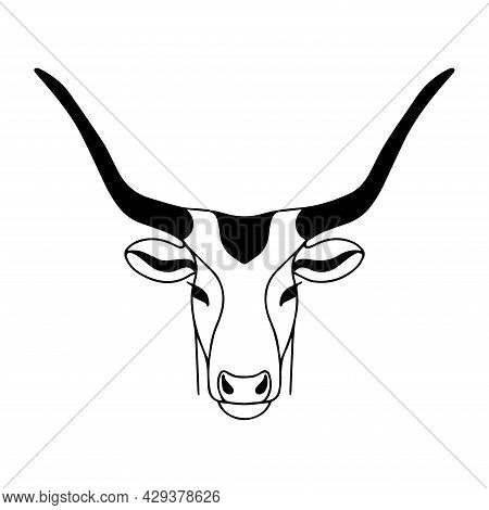 Vector Image Of A Roe Deer With Long Horns. Drawing For Coloring. Head Of A Mountain Goat. The Head