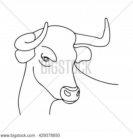 Vector Image Of A Bull. Drawing For Coloring. Silhouette Of A Bull. The Head Of A Horned Animal. Out