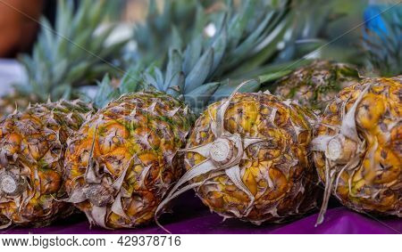 Close Up Of Some Pineapples In A Fresh Market In Kuala Lumpur, Malaysia. Fresh Pineapples Lie On A C