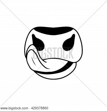 Vector Drawing Of A Bull's Muzzle. Cow Nose. The Cow Licks Its Lips. Logo For A Cow Farm Or Dairy Pr