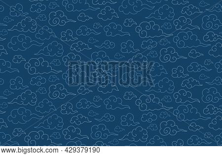 Traditional Oriental Seamless Pattern With Japanese Clouds On Blue Sky. Vector Background. Asian Chi
