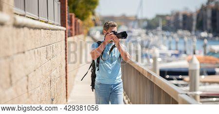 Freelance Travel Photographer Man Take Photographs Using Camera During Summer Vacation, Photography