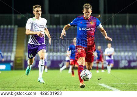 Budapest, Hungary - August 05, 2021: Uefa Europa Conference League, Ujpest Fc - Fc Basel, Michael La