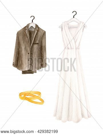 Watercolor Wedding Set. Hand Painted White Wedding Dress, Groom Suit And Gold Rings Isolated On Whit