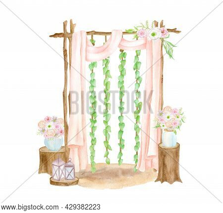 Watercolor Rustic Wedding Arch Illustration. Hand Painted Isolated Wood Archway With Curtains, Lante