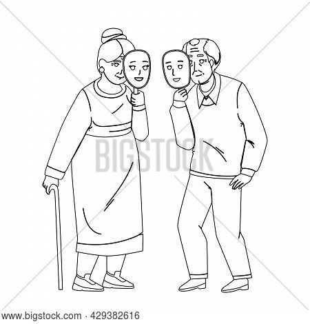 Ageism Of Elderly Man And Woman Couple Black Line Pencil Drawing Vector. Old Grandfather And Grandmo