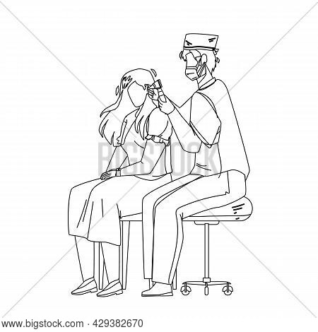 Audiologist Checking Patient Girl Ears Black Line Pencil Drawing Vector. Audiologist Doctor Man Exam