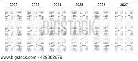 Simple English Calendar 2022, 2023, 2024, 2025, 2026, 2027 On White Background. Vector Illustration.